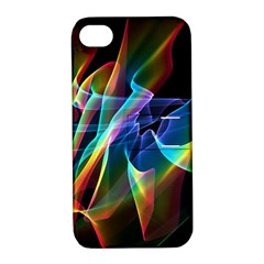 Aurora Ribbons, Abstract Rainbow Veils  Apple Iphone 4/4s Hardshell Case With Stand by DianeClancy