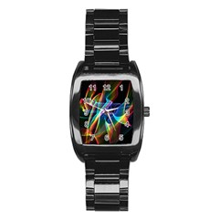 Aurora Ribbons, Abstract Rainbow Veils  Stainless Steel Barrel Watch by DianeClancy