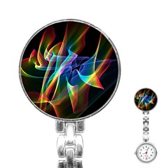 Aurora Ribbons, Abstract Rainbow Veils  Stainless Steel Nurses Watch by DianeClancy
