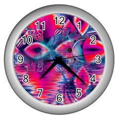 Cosmic Heart Of Fire, Abstract Crystal Palace Wall Clock (silver) by DianeClancy