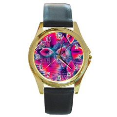 Cosmic Heart Of Fire, Abstract Crystal Palace Round Leather Watch (gold Rim)  by DianeClancy