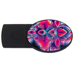 Cosmic Heart Of Fire, Abstract Crystal Palace 2gb Usb Flash Drive (oval) by DianeClancy