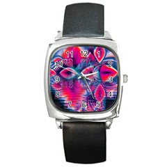 Cosmic Heart Of Fire, Abstract Crystal Palace Square Leather Watch by DianeClancy