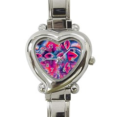 Cosmic Heart Of Fire, Abstract Crystal Palace Heart Italian Charm Watch  by DianeClancy
