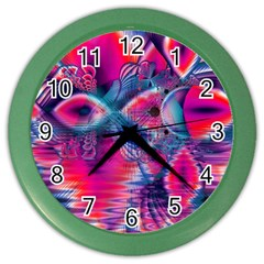 Cosmic Heart Of Fire, Abstract Crystal Palace Wall Clock (color) by DianeClancy