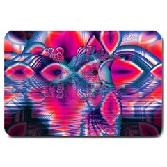 Cosmic Heart Of Fire, Abstract Crystal Palace Large Door Mat by DianeClancy