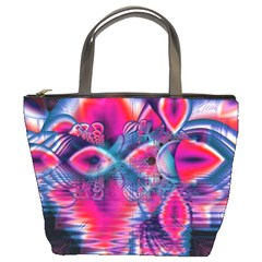 Cosmic Heart Of Fire, Abstract Crystal Palace Bucket Handbag by DianeClancy