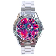 Cosmic Heart Of Fire, Abstract Crystal Palace Stainless Steel Watch by DianeClancy