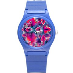 Cosmic Heart of Fire, Abstract Crystal Palace Plastic Sport Watch (Small)