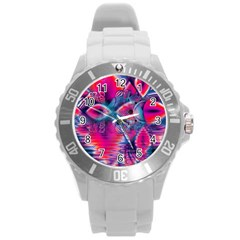 Cosmic Heart Of Fire, Abstract Crystal Palace Plastic Sport Watch (large) by DianeClancy