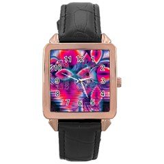 Cosmic Heart Of Fire, Abstract Crystal Palace Rose Gold Leather Watch  by DianeClancy