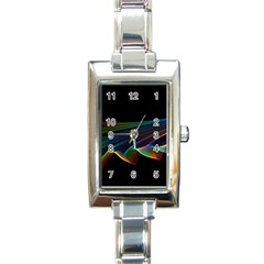 Flowing Fabric Of Rainbow Light, Abstract  Rectangular Italian Charm Watch by DianeClancy