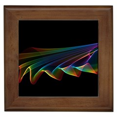 Flowing Fabric Of Rainbow Light, Abstract  Framed Ceramic Tile by DianeClancy