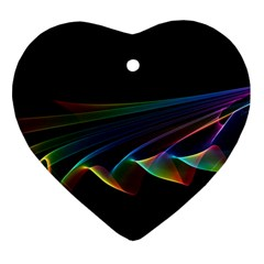 Flowing Fabric Of Rainbow Light, Abstract  Heart Ornament by DianeClancy