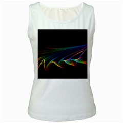 Flowing Fabric Of Rainbow Light, Abstract  Women s Tank Top (white) by DianeClancy