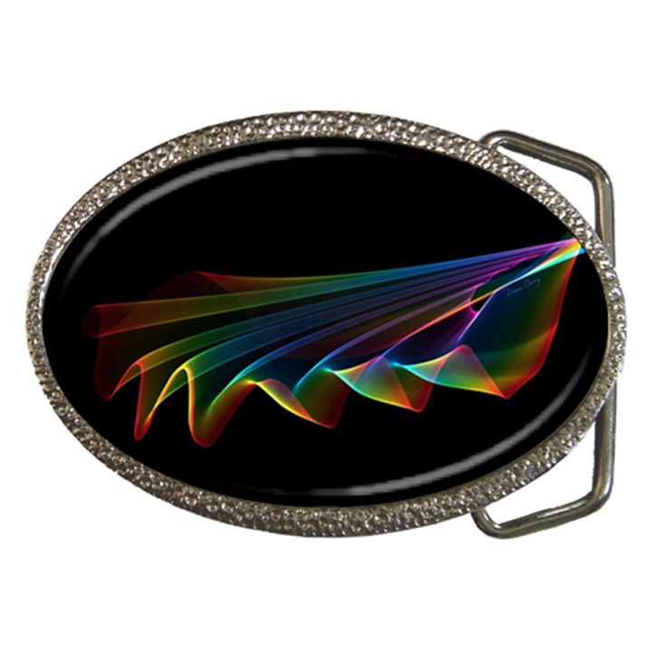 Flowing Fabric of Rainbow Light, Abstract  Belt Buckle (Oval)