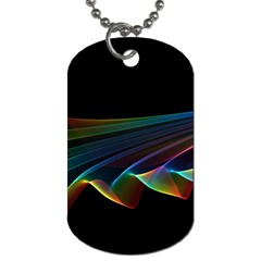 Flowing Fabric Of Rainbow Light, Abstract  Dog Tag (two Sided)  by DianeClancy