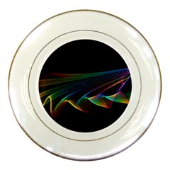 Flowing Fabric Of Rainbow Light, Abstract  Porcelain Display Plate by DianeClancy