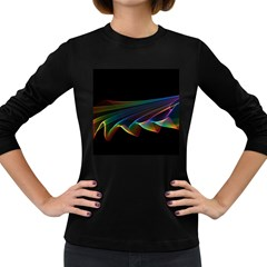 Flowing Fabric Of Rainbow Light, Abstract  Women s Long Sleeve T Shirt (dark Colored) by DianeClancy