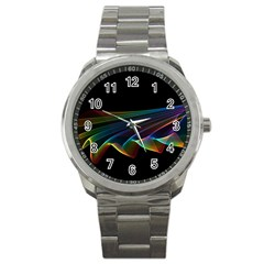 Flowing Fabric Of Rainbow Light, Abstract  Sport Metal Watch by DianeClancy