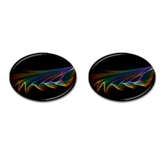 Flowing Fabric Of Rainbow Light, Abstract  Cufflinks (oval) by DianeClancy