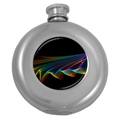 Flowing Fabric of Rainbow Light, Abstract  Hip Flask (Round)