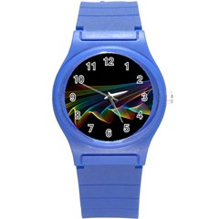 Flowing Fabric Of Rainbow Light, Abstract  Plastic Sport Watch (small) by DianeClancy