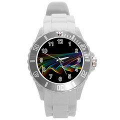 Flowing Fabric Of Rainbow Light, Abstract  Plastic Sport Watch (large) by DianeClancy