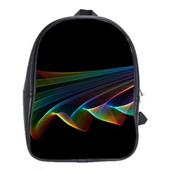 Flowing Fabric Of Rainbow Light, Abstract  School Bag (xl) by DianeClancy