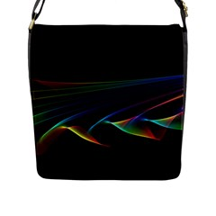 Flowing Fabric Of Rainbow Light, Abstract  Flap Closure Messenger Bag (large) by DianeClancy