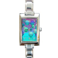Ocean Dreams, Abstract Aqua Violet Ocean Fantasy Rectangular Italian Charm Watch by DianeClancy