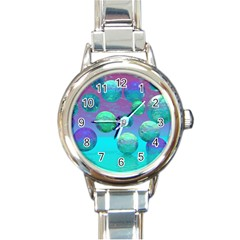 Ocean Dreams, Abstract Aqua Violet Ocean Fantasy Round Italian Charm Watch by DianeClancy