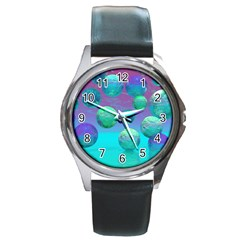Ocean Dreams, Abstract Aqua Violet Ocean Fantasy Round Leather Watch (silver Rim) by DianeClancy