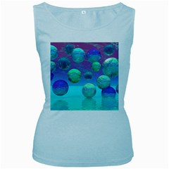 Ocean Dreams, Abstract Aqua Violet Ocean Fantasy Women s Tank Top (baby Blue) by DianeClancy