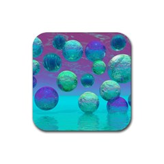 Ocean Dreams, Abstract Aqua Violet Ocean Fantasy Drink Coaster (square) by DianeClancy