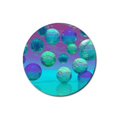 Ocean Dreams, Abstract Aqua Violet Ocean Fantasy Drink Coaster (round) by DianeClancy