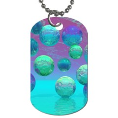 Ocean Dreams, Abstract Aqua Violet Ocean Fantasy Dog Tag (one Sided) by DianeClancy