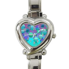 Ocean Dreams, Abstract Aqua Violet Ocean Fantasy Heart Italian Charm Watch  by DianeClancy