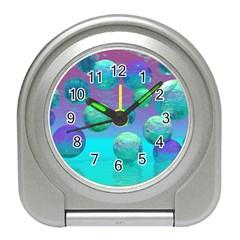 Ocean Dreams, Abstract Aqua Violet Ocean Fantasy Desk Alarm Clock by DianeClancy