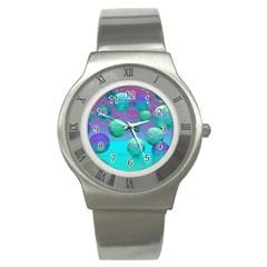 Ocean Dreams, Abstract Aqua Violet Ocean Fantasy Stainless Steel Watch (slim) by DianeClancy
