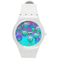Ocean Dreams, Abstract Aqua Violet Ocean Fantasy Plastic Sport Watch (medium) by DianeClancy