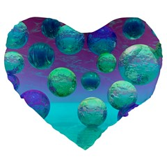 Ocean Dreams, Abstract Aqua Violet Ocean Fantasy 19  Premium Heart Shape Cushion by DianeClancy