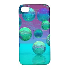 Ocean Dreams, Abstract Aqua Violet Ocean Fantasy Apple Iphone 4/4s Hardshell Case With Stand by DianeClancy