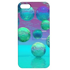 Ocean Dreams, Abstract Aqua Violet Ocean Fantasy Apple Iphone 5 Hardshell Case With Stand by DianeClancy