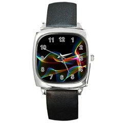 Fluted Cosmic Rafluted Cosmic Rainbow, Abstract Winds Square Leather Watch