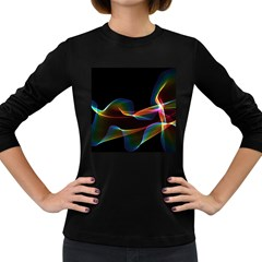 Fluted Cosmic Rafluted Cosmic Rainbow, Abstract Winds Women s Long Sleeve T Shirt (dark Colored) by DianeClancy