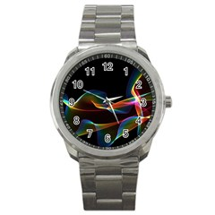 Fluted Cosmic Rafluted Cosmic Rainbow, Abstract Winds Sport Metal Watch by DianeClancy