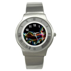 Fluted Cosmic Rafluted Cosmic Rainbow, Abstract Winds Stainless Steel Watch (slim) by DianeClancy