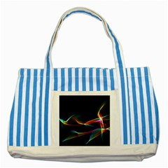 Fluted Cosmic Rafluted Cosmic Rainbow, Abstract Winds Blue Striped Tote Bag by DianeClancy
