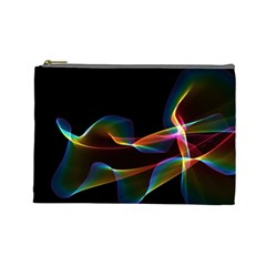 Fluted Cosmic Rafluted Cosmic Rainbow, Abstract Winds Cosmetic Bag (large) by DianeClancy